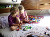 unschooling at sea - playing with LEGO